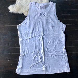Men's XL Under Armour white workout tank top shirt